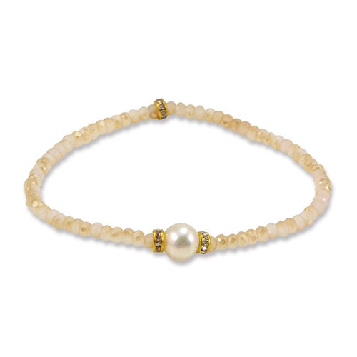 Quartz and Pearl Bracelet - One Size Fits Most