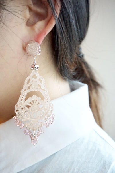 Vintage Mauve Sparkling Drop Earrings by DUBLOS