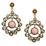 Pink Accent Medallion Earrings