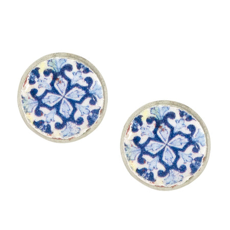 Cat's Eye Stone Circle Earrings - Blue