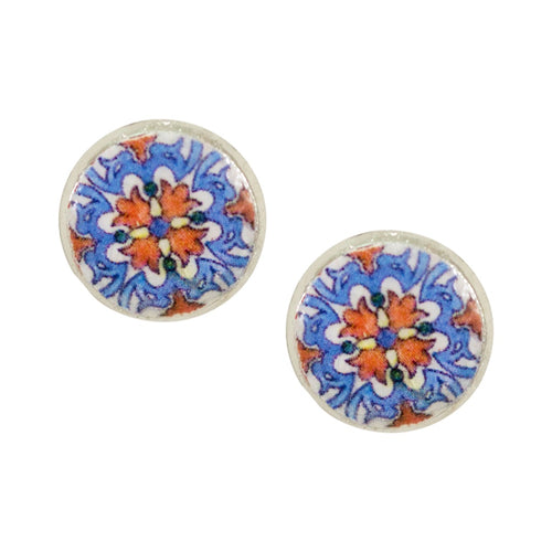 Portuguese Tile Post Earrings