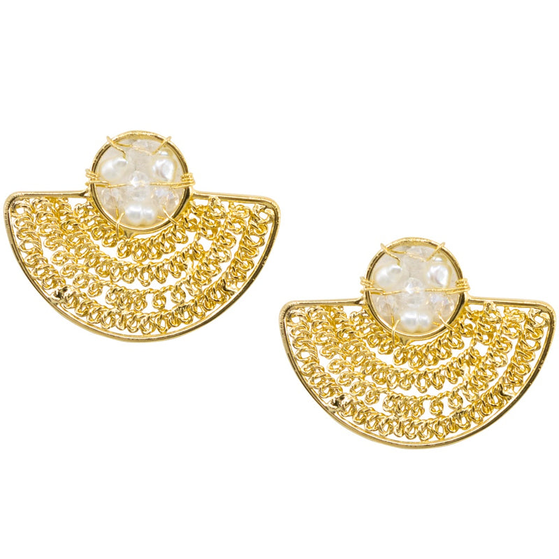 Golden Pre-Colombian Inspired Pearl Post Earrings