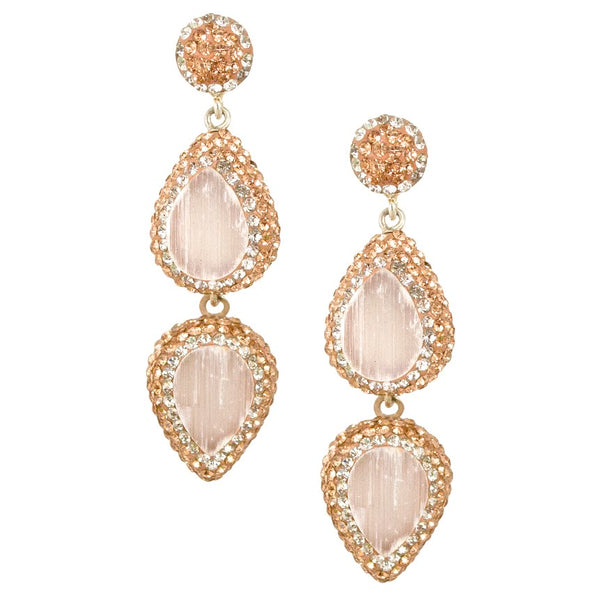 Quartz Double Drop Earrings