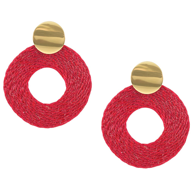 Natural Rice Fiber Red Circle Earrings