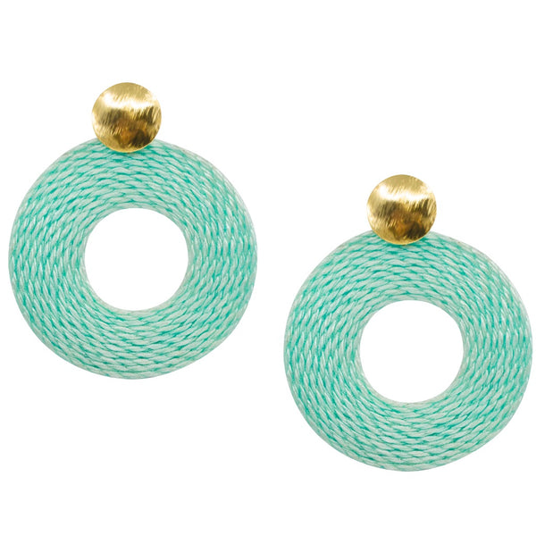 Natural Rice Fiber Circle Earrings - Sea Foam Green