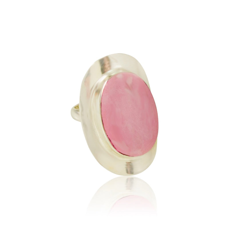 Rose Quartz Adjustable Ring from Taxco, Mexico