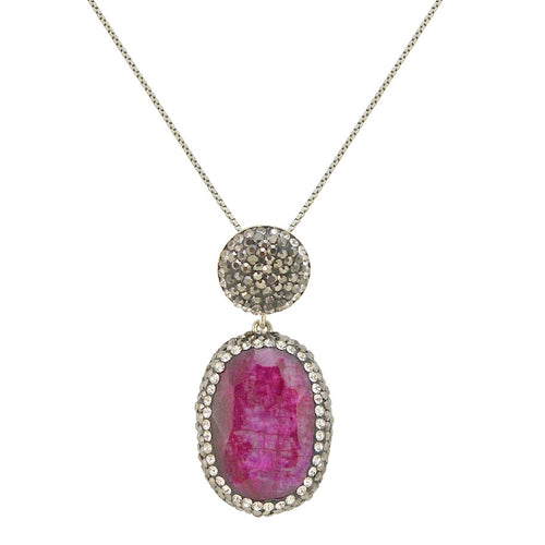 Semi-Precious Ruby Drop Pendant