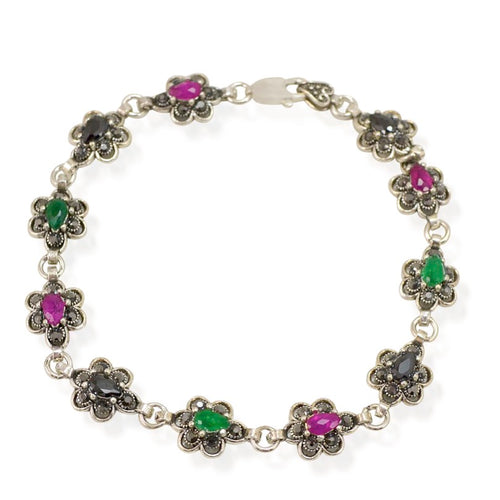 Ruby and Emerald Flower Sterling Silver Bracelet - Armenian Jewelry