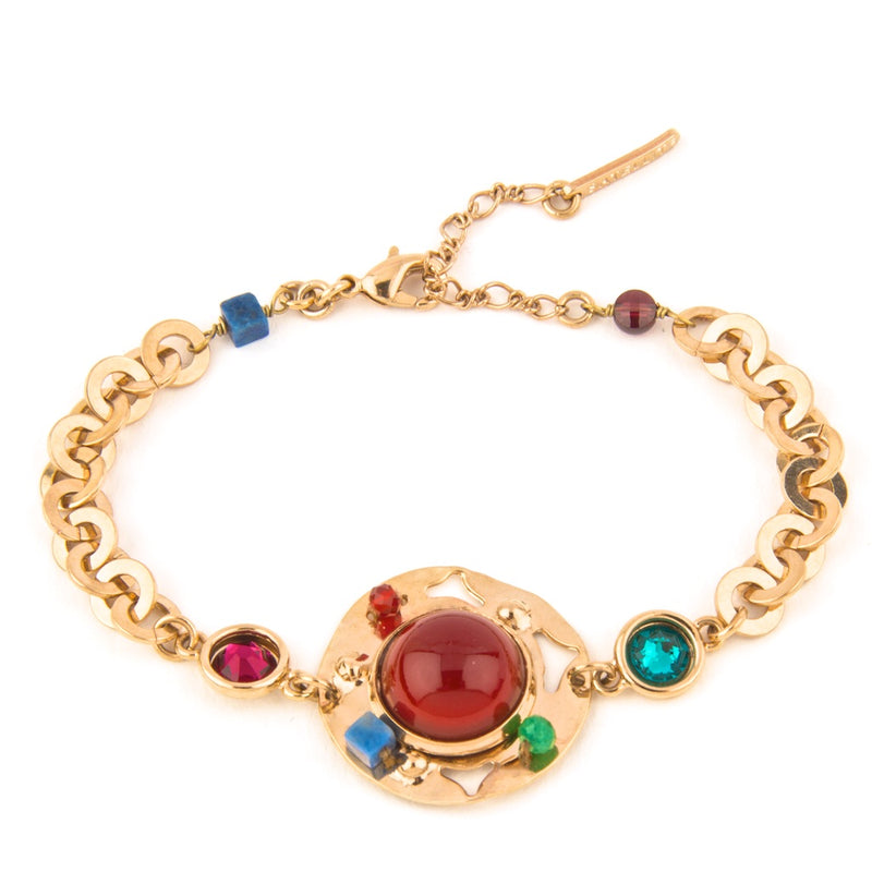 Multi-Colored Sparkling Garnet, Jade And Lazuli Flexible Bracelet by Satellite Paris