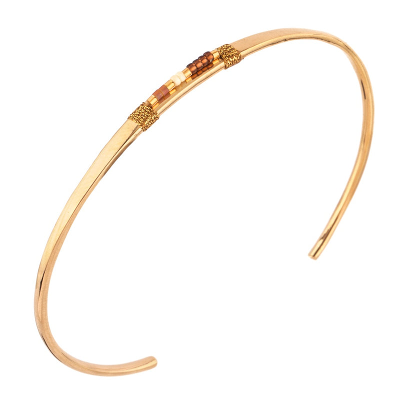 Elegant Brown Japanese Bead Bangle by Satellite Paris