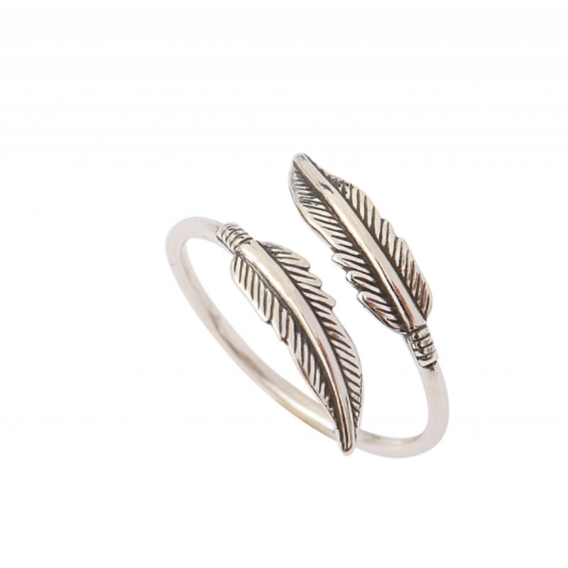 Dainty Silver Feather Ring by Satellite Paris