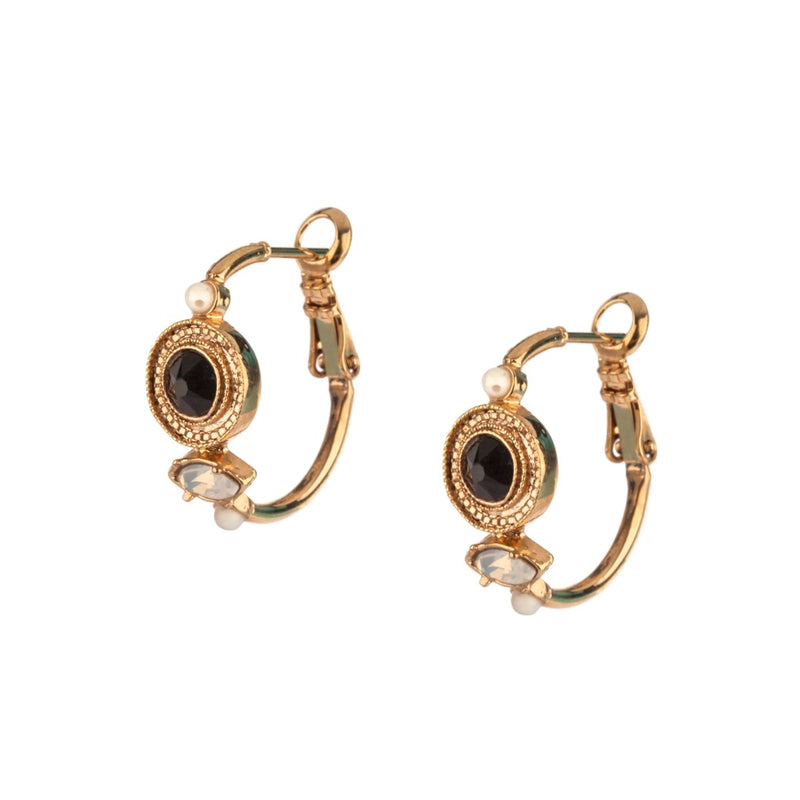 Onyx and Gold Hematite Hoop Earrings by Satellite Paris