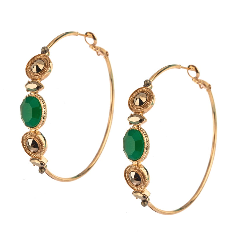 Elegant Green Jasper and Pyrite Hoop Earrings by Satellite Paris