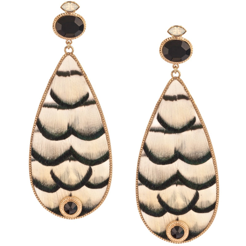 Fashionable Feather and Crystal Drop Earrings by Satellite Paris