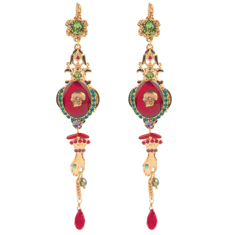 Baroque Skull Rhinestone Drop Earrings by Satellite Paris