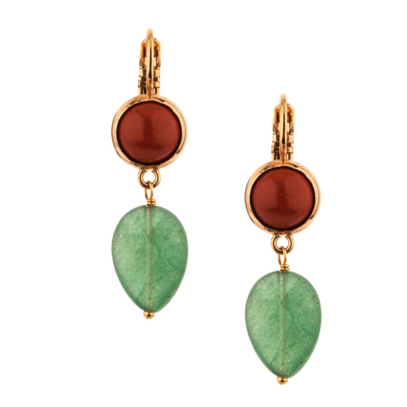 Fashionable Aventurine and Jasper Drop Earrings by Satellite Paris