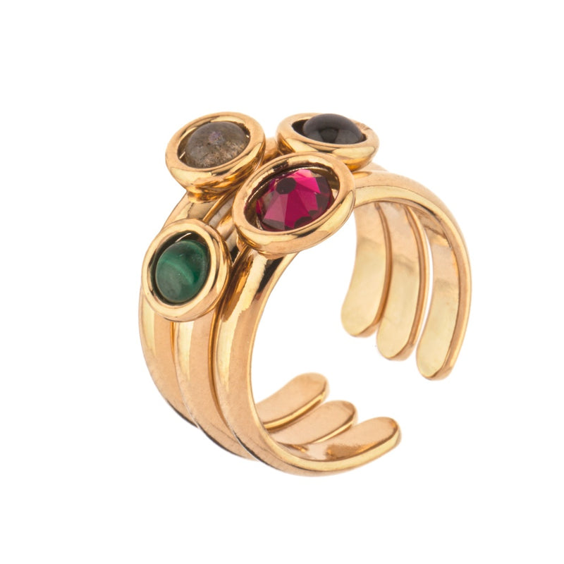 Chic Garnet And Malachite Adjustable Cocktail Ring by Satellite Paris