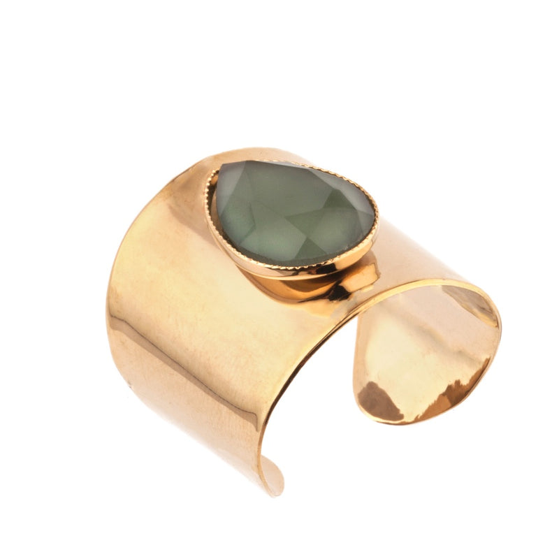 Green Feminine Hammered Metal and Cabochon Adjustable Ring by Satellite Paris