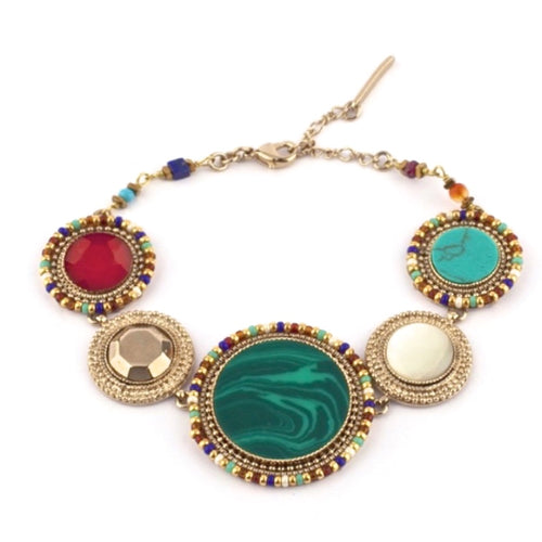 Baroque Malachite, Lapis Lazuli and Turquoise Bracelet by Satellite Paris