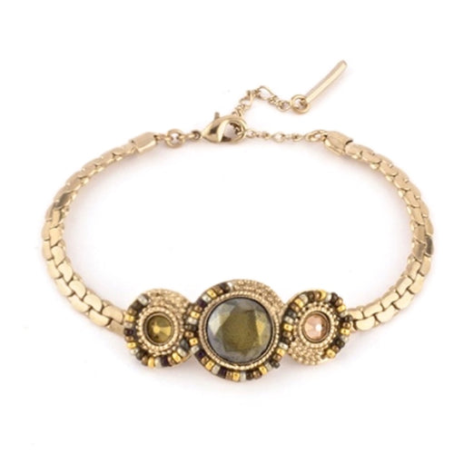 Golden Swarovski Crystal and Japanese Bead Bracelet by Satellite Paris