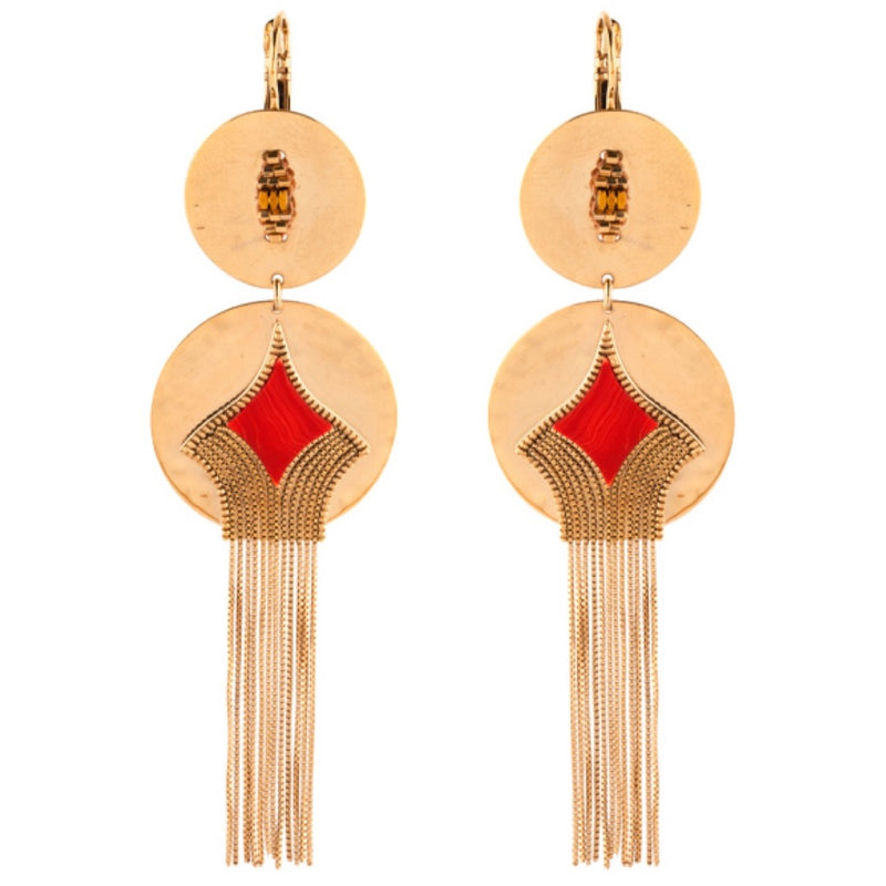 Red Spinel Double Drop Earrings by Satellite Paris