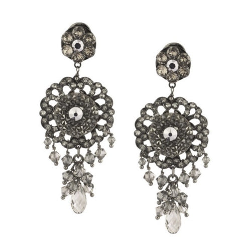 Chiara Glimmering Silver Swarovski Drop Earrings by Satellite Paris