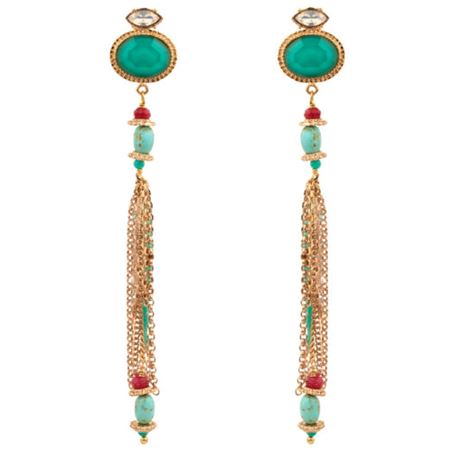 Chiara Brilliant Blue Chandelier Earrings by Satellite Paris