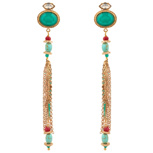 Turquoise and Swarovski Crystal Tassel Earrings by Satellite Paris
