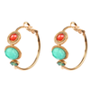 Amazonite and Swarovski Crystal Hoop Earrings by Satellite Paris