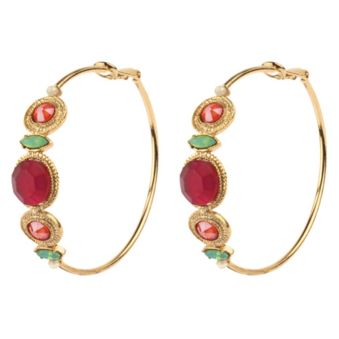 Elegant Amazonite and Swarovski Crystal Hoop Earrings by Satellite Paris
