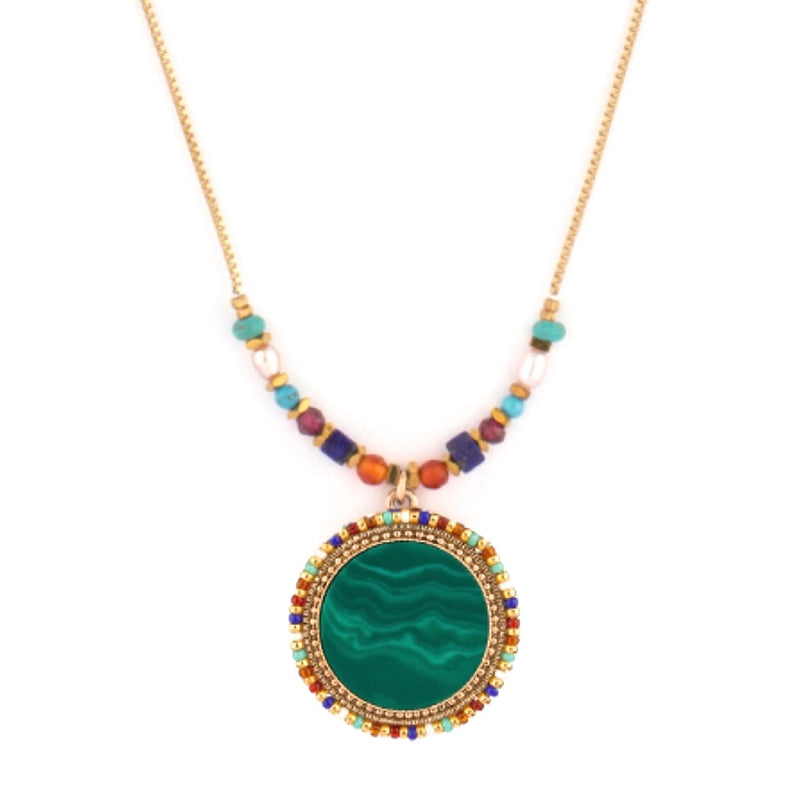 Malachite and Pearl Necklace by Satellite Paris