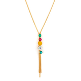 Sophisticated  Swarovski Crystals and Mother-of Pearl Gold Plated Drop Necklace by Satellite Paris