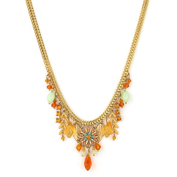 Alizia Swarovski and Bead Necklace by Satellite Paris - Orange