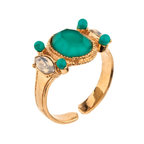 Crystal and Turquoise Ring by Satellite Paris