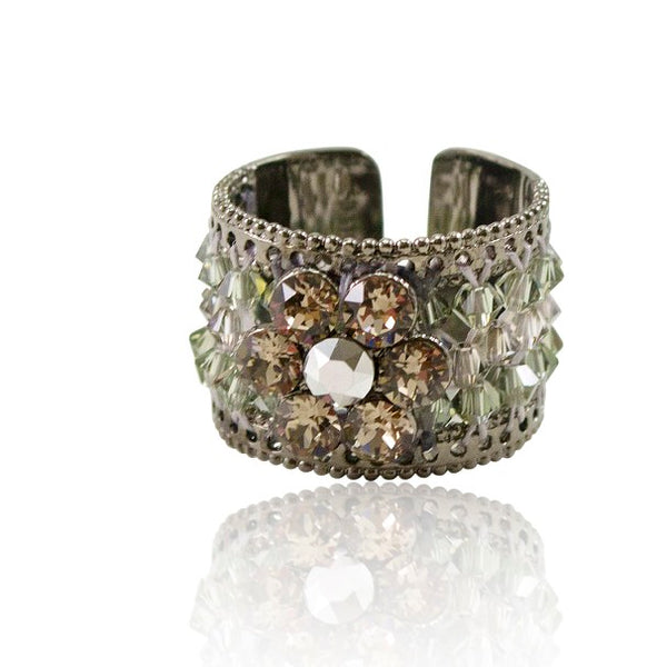Chiara Glimmering Steel Grey Crystal Ring by Satellite Paris