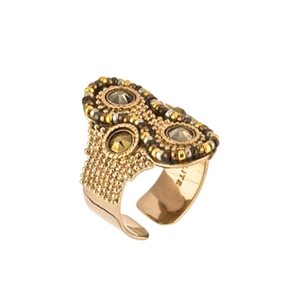 Golden Swarovski and Japanese Bead Ring by Satellite Paris