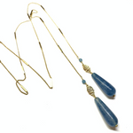 Blue Quartz Lariat Necklace