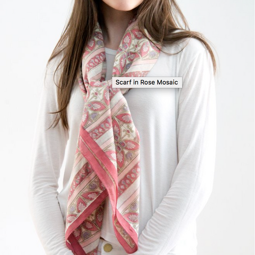 Hand Block Printed Scarf by Anokhi - Rose Mosaic