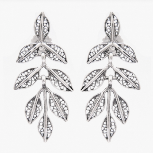 Leaf Silver Filigree Earrings