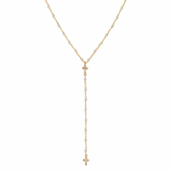Moonstones and Cross Drop Necklace