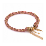 Soho Silk and 14K Gold Fill Chain Bracelet - Pink