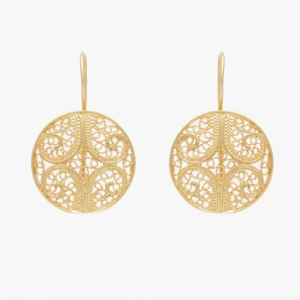 Circle Gold Plated Sterling Silver Filigree Earrings