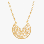 Circle Gold Plated Sterling Silver Filigree Necklace