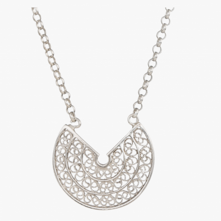 Silver Leaf Filigree Pendant Necklace