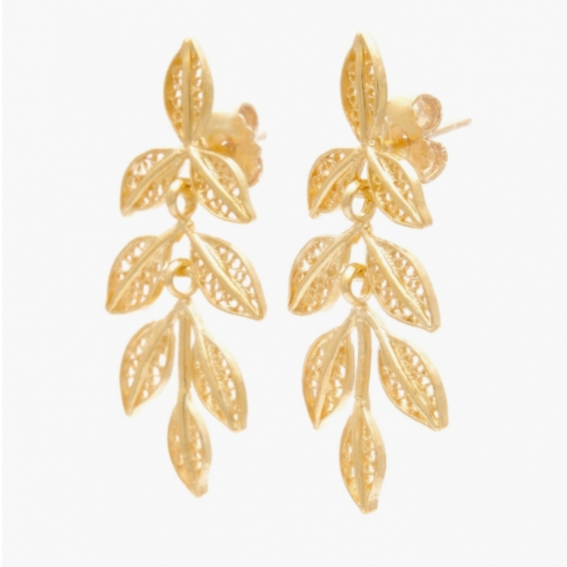 Leaf Gold Plated Sterling Silver Filigree Earrings