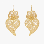Heart of Viana Filigree Gold Plated Silver Earrings