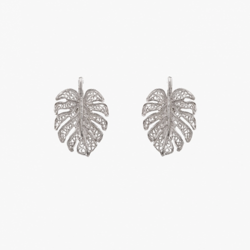 Single Leaf Silver Filigree Earrings