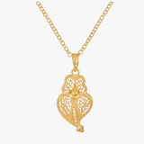 Gold Plated Heart of Viana Filigree Pendant Necklace
