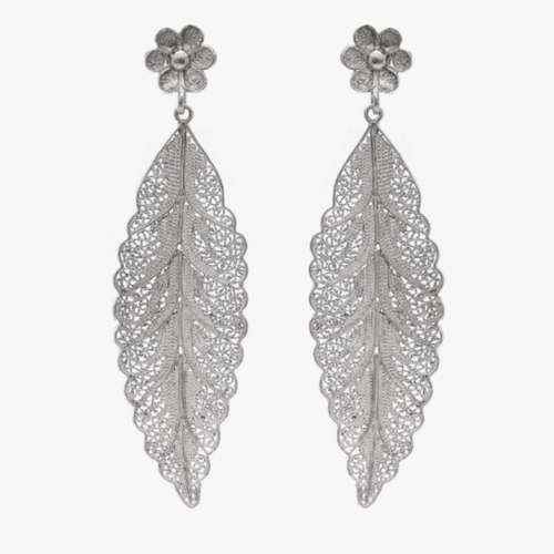 Dangle Silver Leaf  Filigree Earrings