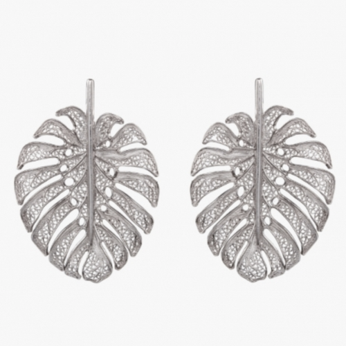 Statement Leaf Silver Filigree Earrings